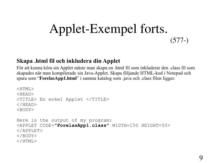 Applet-Exempel forts.