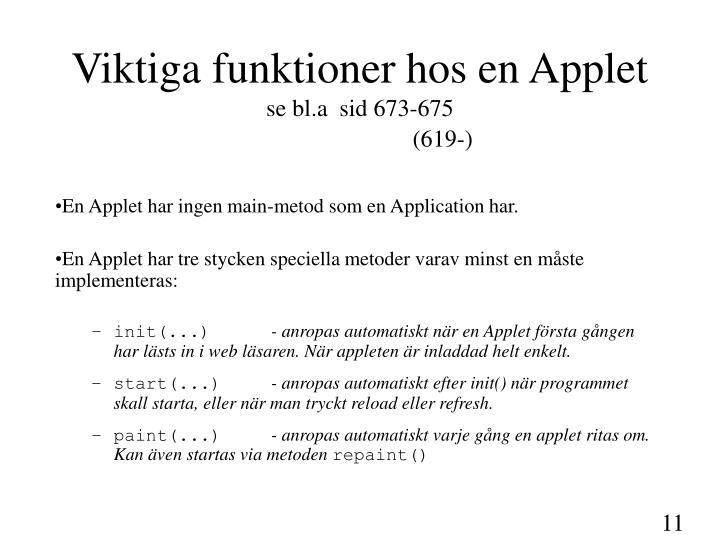 Viktiga funktioner hos en Applet