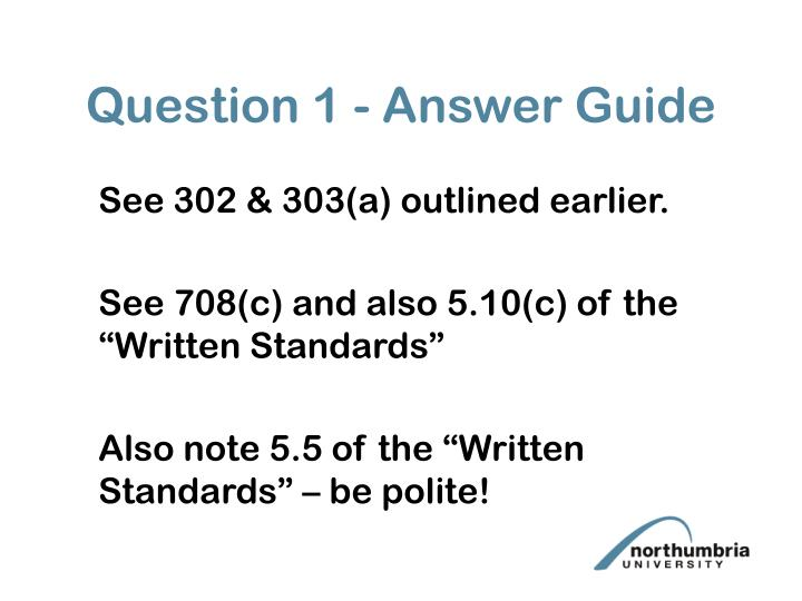 Question 1 - Answer Guide