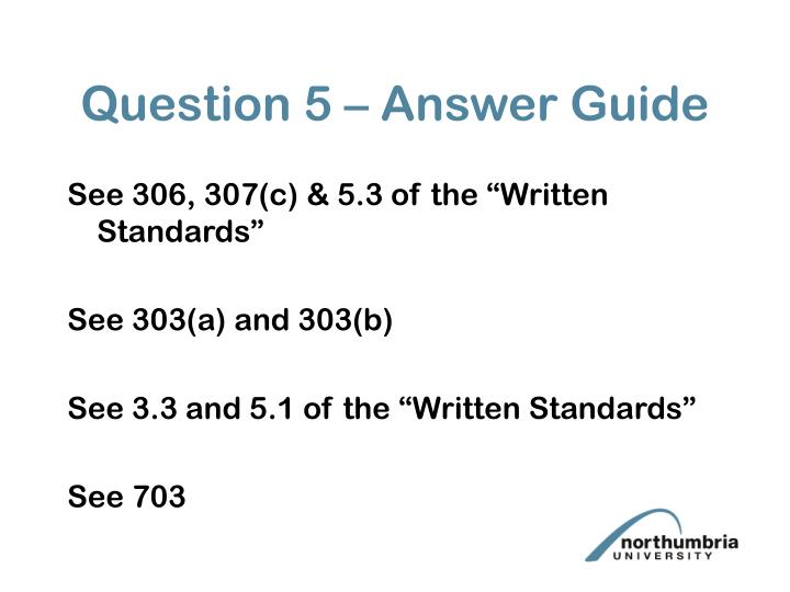 Question 5 – Answer Guide
