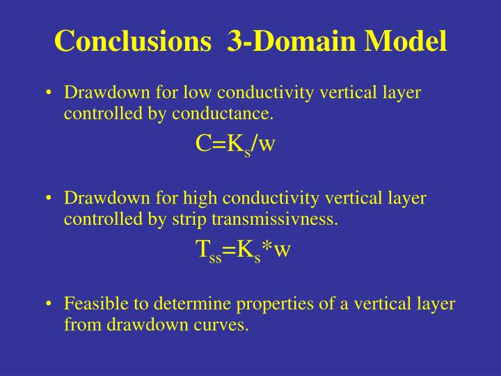 Conclusions  3-Domain Model