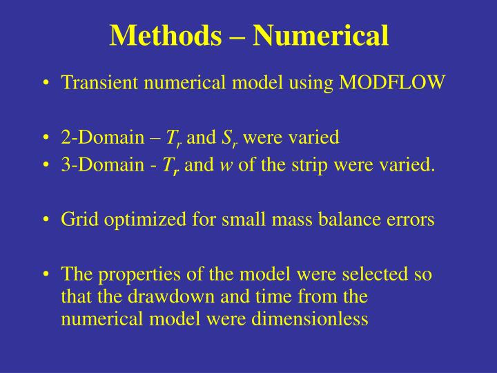 Methods – Numerical
