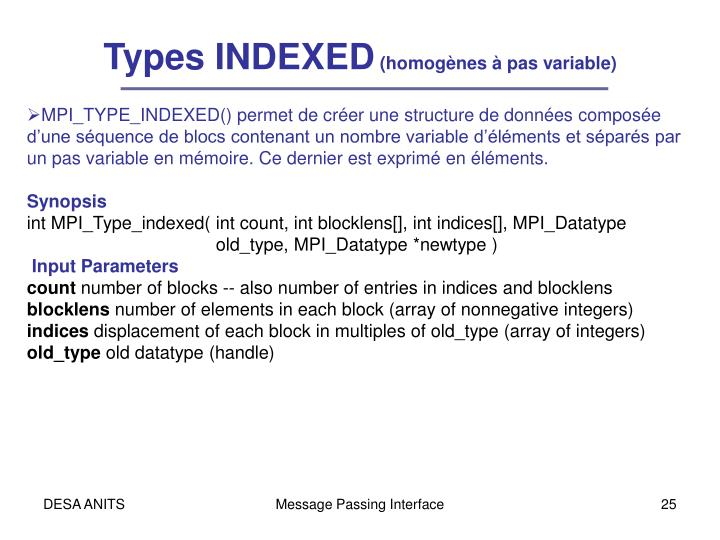 Types INDEXED