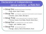 declaration of independence group activity p r39 r41