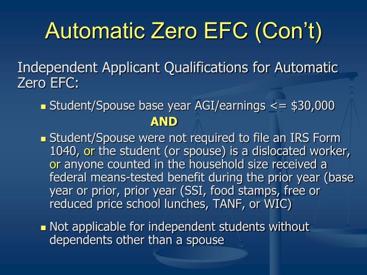 Automatic Zero EFC (Con't)