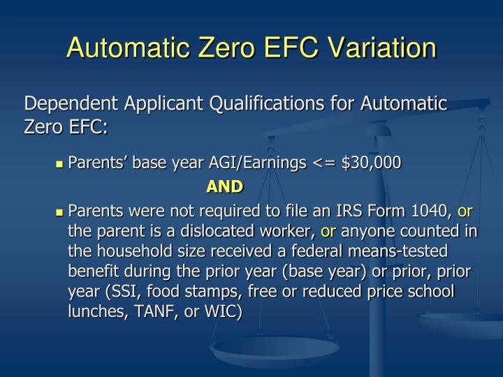 Automatic Zero EFC Variation