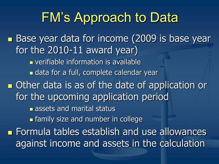 FM's Approach to Data