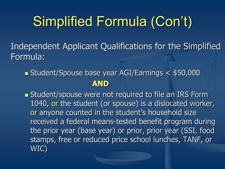 Simplified Formula (Con't)