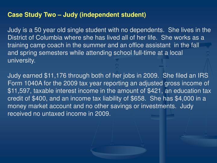 Case Study Two – Judy (independent student)