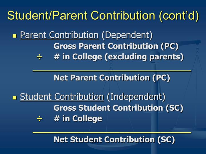 Student/Parent Contribution (cont'd)