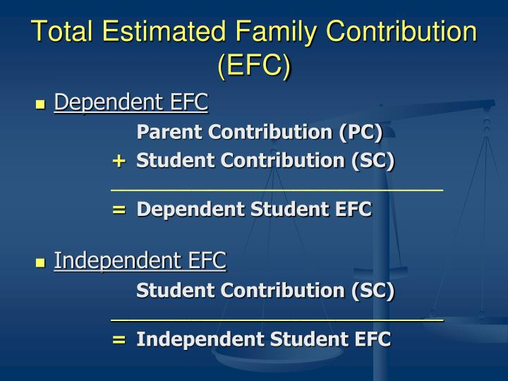 Total Estimated Family Contribution (EFC)