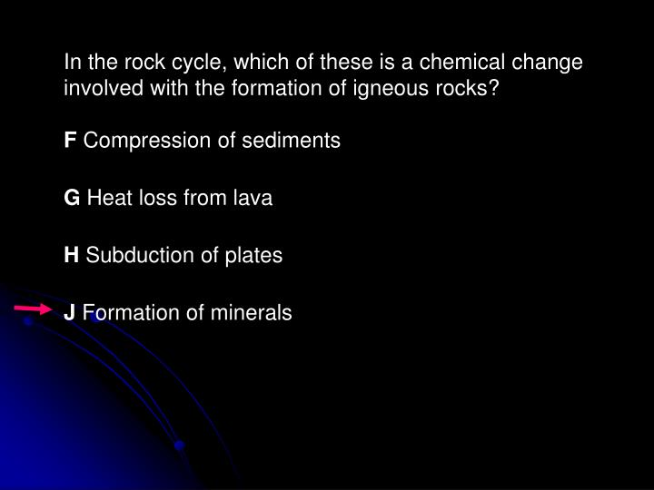 In the rock cycle, which of these is a chemical change involved with the formation of igneous rocks?