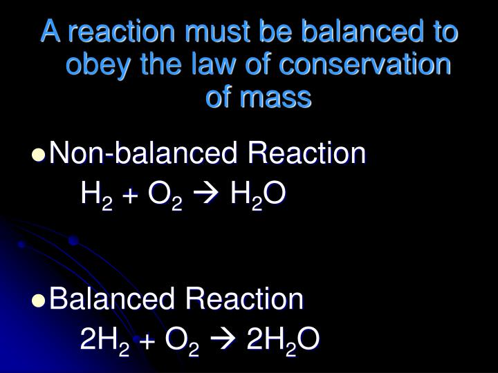 A reaction must be balanced to obey the law of conservation of mass