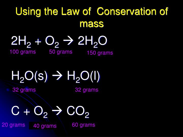 Using the Law of  Conservation of mass