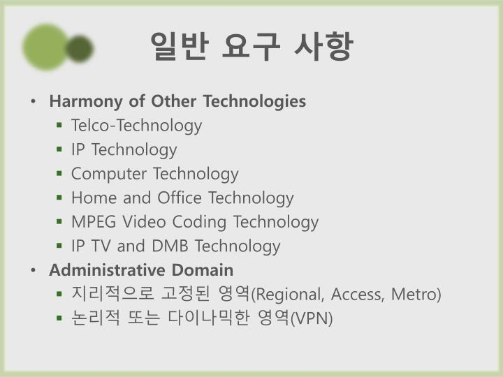 Harmony of Other Technologies