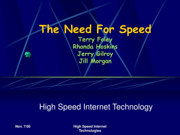The need for speed terry foley rhonda hoskins jerry gilroy jill morgan