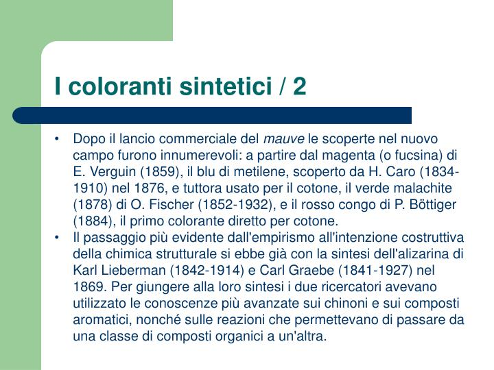 I coloranti sintetici / 2