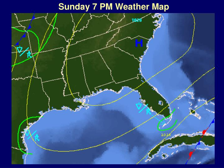 Sunday 7 PM Weather Map