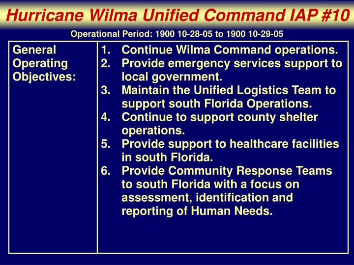 Hurricane Wilma Unified Command IAP #10