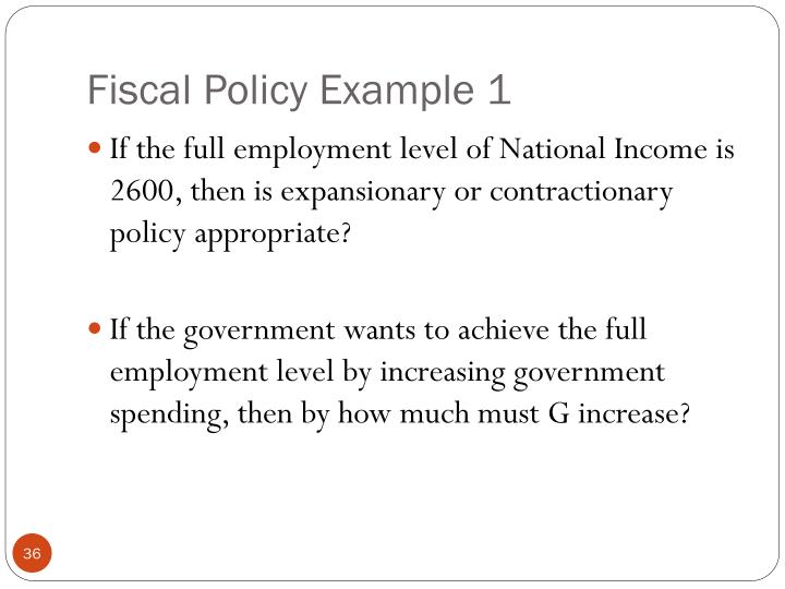 Fiscal Policy Example 1