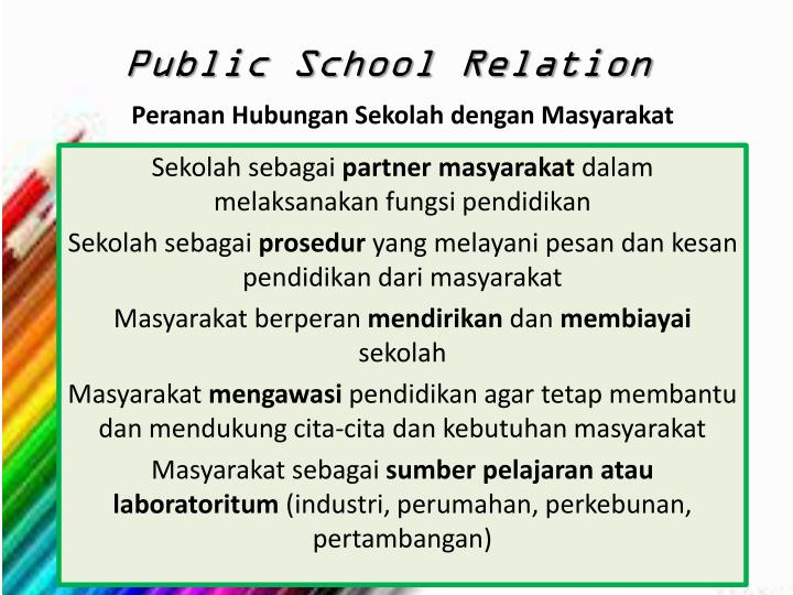 Peranan Hubungan Sekolah dengan Masyarakat