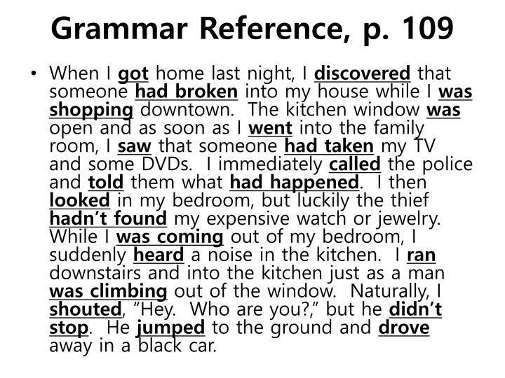 Grammar reference p 109