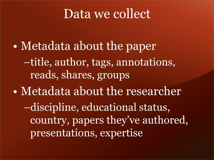 Data we collect