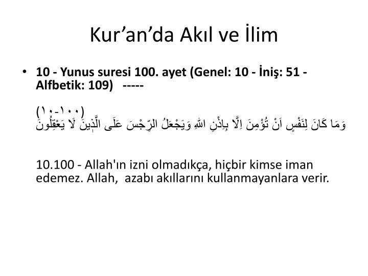 Kur'an'da Akıl ve İlim