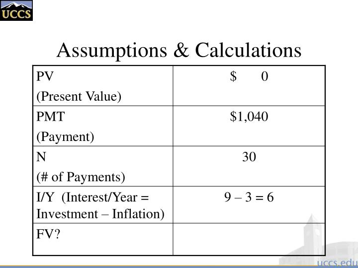 Assumptions & Calculations