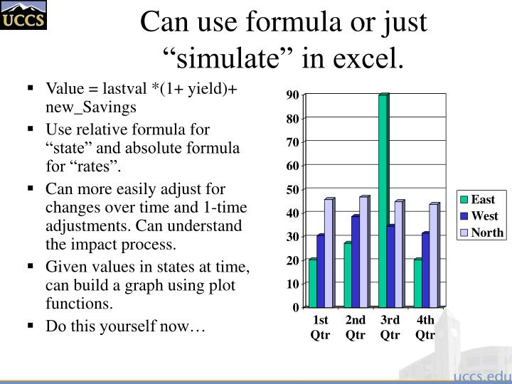 "Can use formula or just ""simulate"" in excel."
