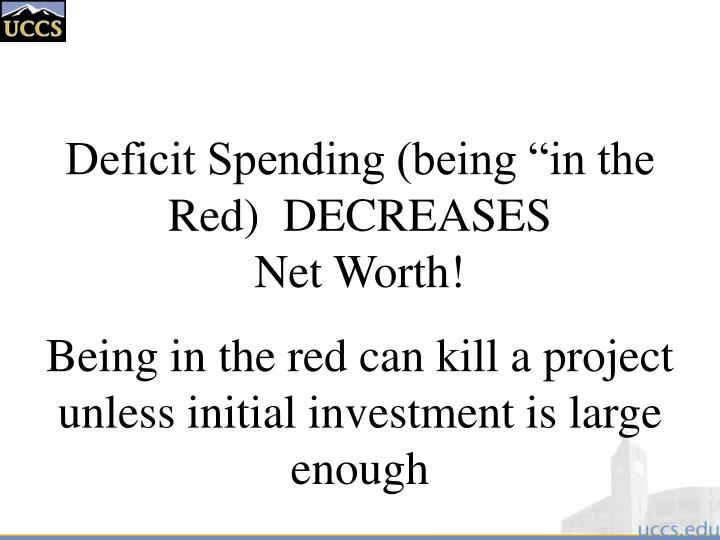 "Deficit Spending (being ""in the Red)  DECREASES"