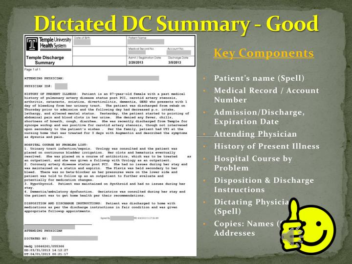 Dictated DC Summary - Good