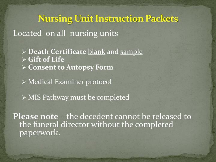 Nursing Unit Instruction Packets