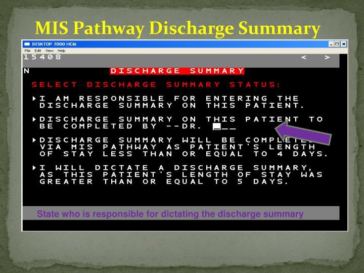 MIS Pathway Discharge Summary