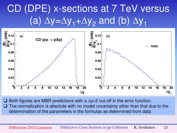 CD (DPE) x-sections at 7 TeV versus (a)