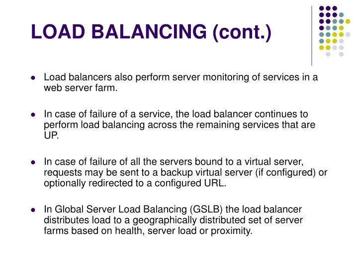 LOAD BALANCING (cont.)