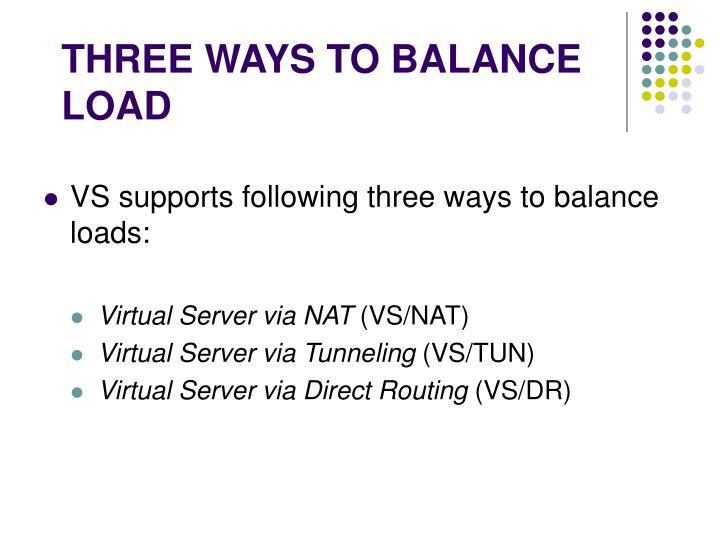 THREE WAYS TO BALANCE LOAD