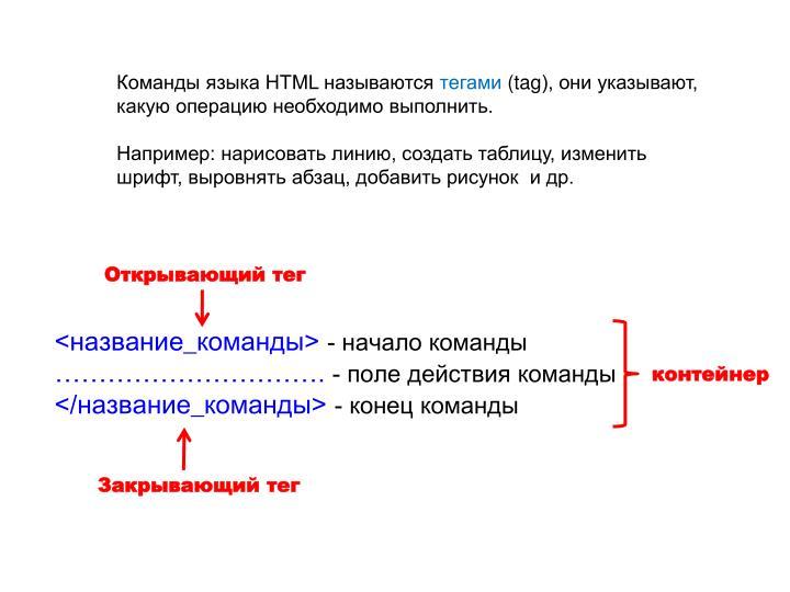 Команды языка HTML называются
