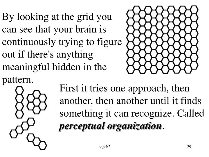 By looking at the grid you can see that your brain is continuously trying to figure out if there's anything meaningful hidden in the pattern.