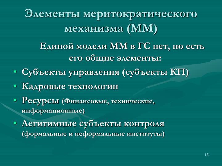 Элементы меритократического механизма (ММ)