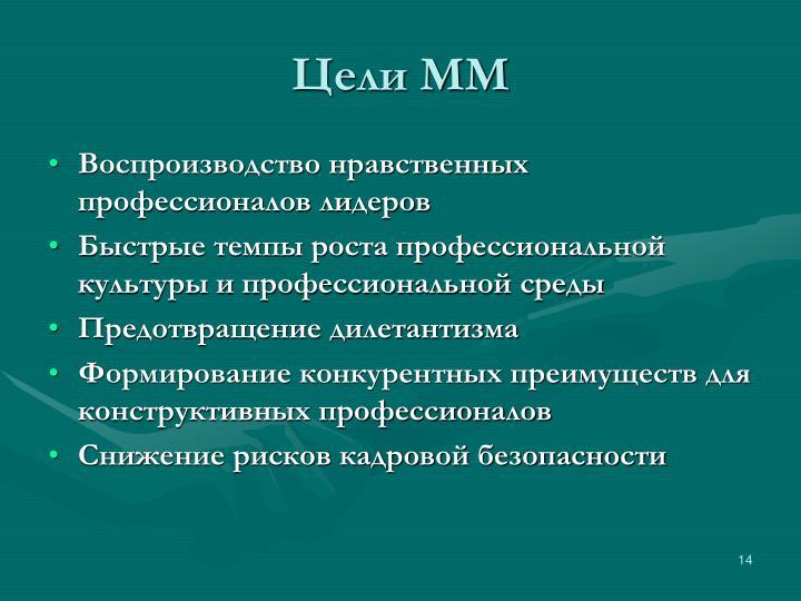 Цели ММ