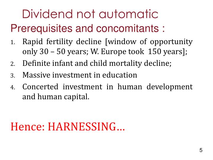 Dividend not automatic