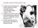 health and family planning