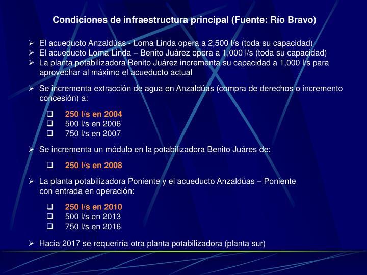 Condiciones de infraestructura principal (Fuente: Río Bravo)