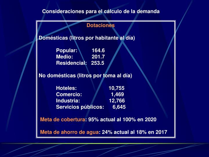 Consideraciones para el cálculo de la demanda