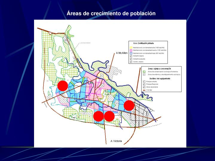 Áreas de crecimiento de población