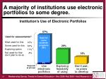 a majority of institutions use electronic portfolios to some degree