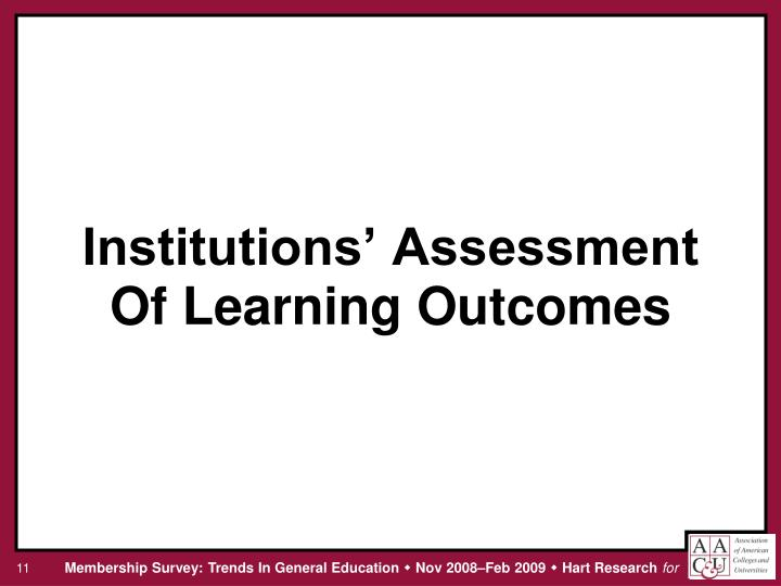 Institutions' Assessment