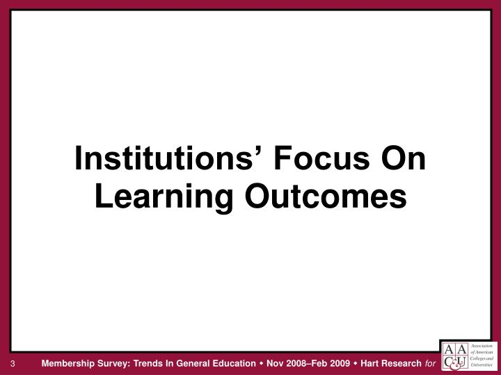 Institutions focus on learning outcomes
