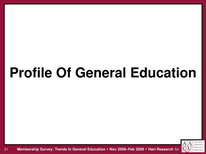 Profile Of General Education